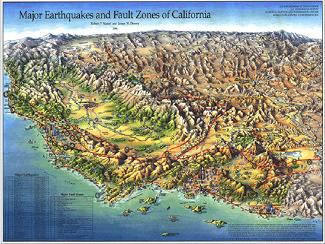 MAJOR EARTHQUAKES/FAULT ZONES IN CALIF
