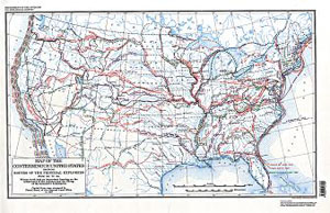 US, ROUTES PRINCIPAL EXPLORERS 1501-1844