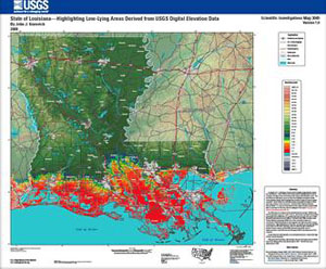 LOUISIANA - HIGHLIGHTING LOW-LYING AREAS
